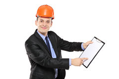 Young foreman wearing helmet Royalty Free Stock Photo