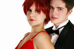 Young Formal Couple. Attractive young couple in formal clothing over white background Stock Photos