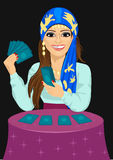 Young fortune teller forecasting future with tarot cards royalty free illustration