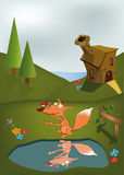 Young Fox And Ladybird Adventures Stock Photos