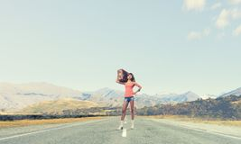 Young free hitchhiker Royalty Free Stock Images