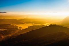 Young freedom on mountain peak landscape.. Royalty Free Stock Image