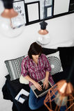 Young freelancer woman using laptop.Happy smiling girl working o Stock Image