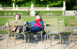 Young French couple in the Luxembourg Garden Royalty Free Stock Photo