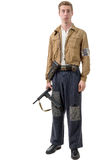 Young French Resistance, vintage clothes and weapons, reenactmen Stock Photography