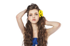 Young fresh girl over whute Royalty Free Stock Images