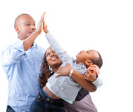 Young fresh and happy family royalty free stock images