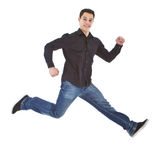 Young fresh happy man jumping Royalty Free Stock Photo