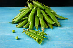 Young fresh juicy pods of green peas Stock Photos