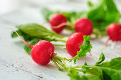 Young fresh radishes on white board. Young fresh radishes on white wooden background Stock Photography