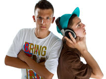 Young fresh teenage djs Stock Photo