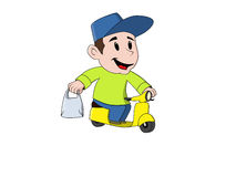 Young friendly delivery guy with motorcycle Stock Photo