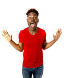 Young friendly and happy afro american man smiling excited and posing cool and cheerful Stock Photos