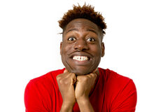 Young friendly and happy afro american man smiling excited and posing cool and cheerful Stock Photography