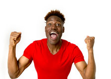 Young friendly and happy afro american man smiling excited and posing cool and cheerful Stock Photo