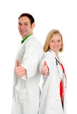 Young friendly medical team in lab coat Royalty Free Stock Photo