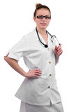 Young friendly nurse with a stethoscope Royalty Free Stock Image