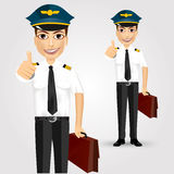 Young friendly pilot with briefcase Stock Image