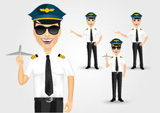 Young friendly pilot with sunglasses Royalty Free Stock Image