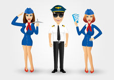 Young friendly pilot and two stewardesses Stock Photography