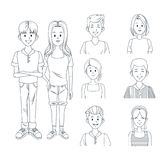 Young friends cartoon. Icon vector illustration graphic design Stock Image