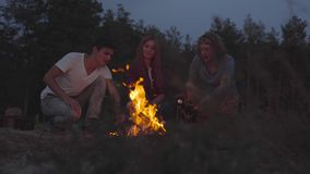 Young friends chilling on beach making marshmallows with a fire and chatting in cozy summer evening. Hipster young friends chilling on beach making marshmallows stock footage