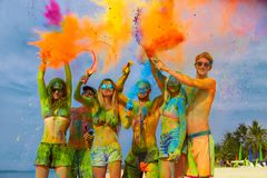 Fun at holi party stock images