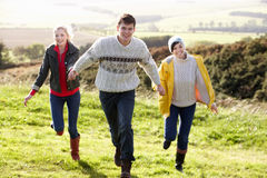 Young friends on country walk royalty free stock image