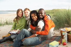 Young Friends Enjoying Picnic On Beach. Group Of Young Friends Enjoying Picnic On Beach Together Stock Images