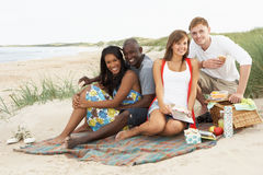 Young Friends Enjoying Picnic On Beach. Group Of Young Friends Enjoying Picnic On Beach Together Royalty Free Stock Photo