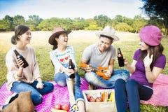 young friends enjoying picnic and playing ukulele Stock Images