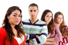Young friends with folded hands Royalty Free Stock Photography