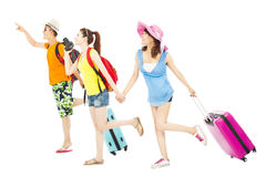 Young friends happy to travel worldwide together. Over white background stock photos