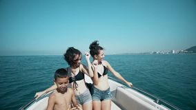 Young friends having fun and dancing on a luxury yacht stock video