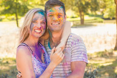 Young friends having fun with powder paint Royalty Free Stock Photos
