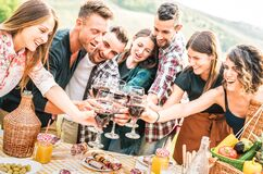 Young Friends Having Genuine Fun Outdoor Toasting Red Wine At Open Air Bar-b-q Party - Happy People Eating Grilled Food Stock Photos