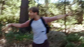 Young friends on a hike. In slow motion stock video