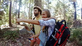 Young friends on a hike stock footage