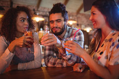 Young friends interacting with each other having drinks Stock Images