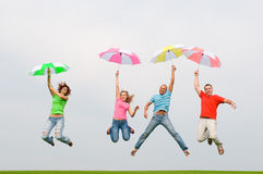 Young friends jumping Royalty Free Stock Photography