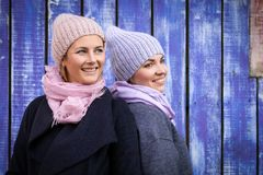 A young friends in a knitted hat stock image
