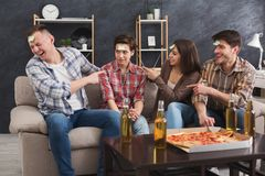 Young friends playing funny game who I am Stock Photography