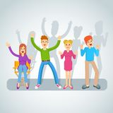 Young friends set. Company of young cheerful happy friends. Flat vector cartoon illustration. Objects  on white background Stock Photos