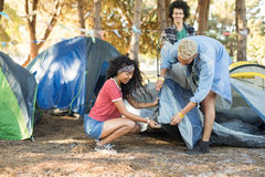 Young friends setting up tent together on field Royalty Free Stock Image