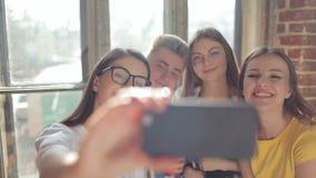 Group of Friends Taking Selfie stock video footage