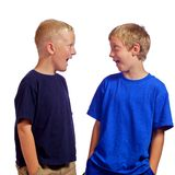 Young Friends in Surprise. Two young boys who are friends with each other standing with expressions of surprise Stock Photography