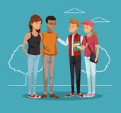 Young friends cartoon. Young friends talking at park cartoons vector illustration graphic design royalty free illustration
