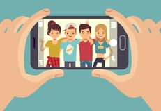 Young friends teenagers taking photo with smartphone. Friendship vector concept. Friends photo on smartphone camera, portrait happy people illustration Royalty Free Stock Photography