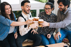 Young friends toasting Stock Photography
