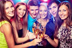 Young friends touching the glasses with each other. Happy group of young friends touching the glasses with each other royalty free stock images